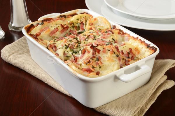 Stock fotó: Krumpli · krumpli · sajt · mártás · sonka · étel