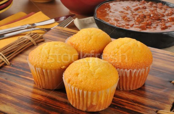 Cornbread muffins and chili Stock photo © MSPhotographic