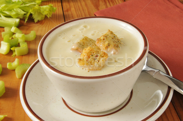 Chaud crème céleri soupe tasse ail Photo stock © MSPhotographic
