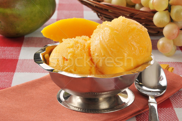 Mangue argent bol sorbet fruits Photo stock © MSPhotographic