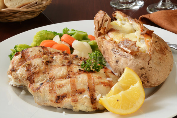 Grilled chicken and baked potato Stock photo © MSPhotographic
