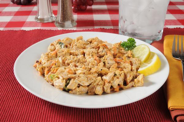 Salada de frango prato limão fatias salada almoço Foto stock © MSPhotographic