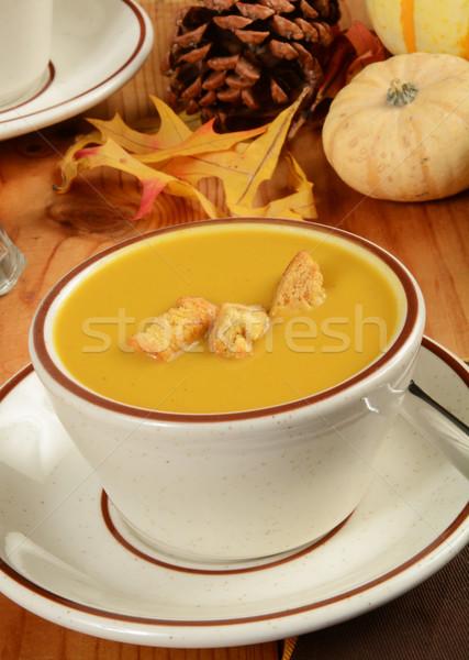 Squash soupe tasse citrouille automne blanche Photo stock © MSPhotographic
