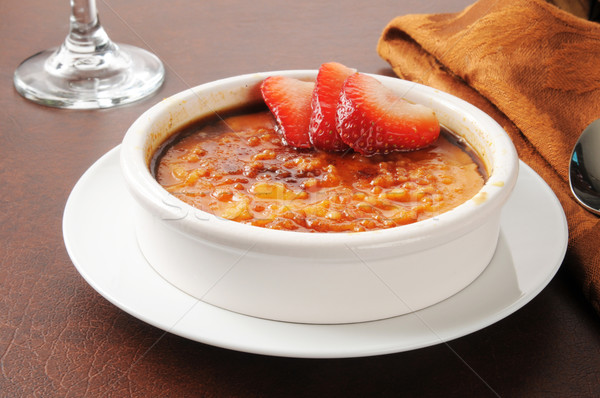 Creme brulee with strawberries Stock photo © MSPhotographic