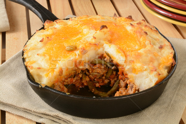 Shepherds pie in a cast iron skillet Stock photo © MSPhotographic