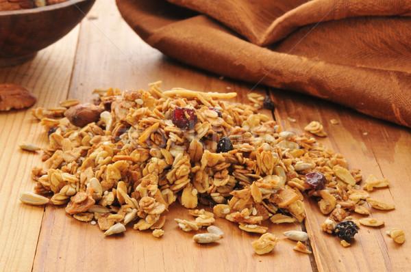 Egészséges organikus granola tekert mandulák napraforgó Stock fotó © MSPhotographic