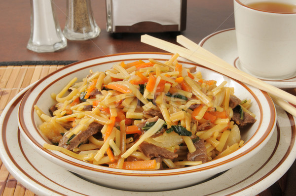 Beef lo mein and tea Stock photo © MSPhotographic