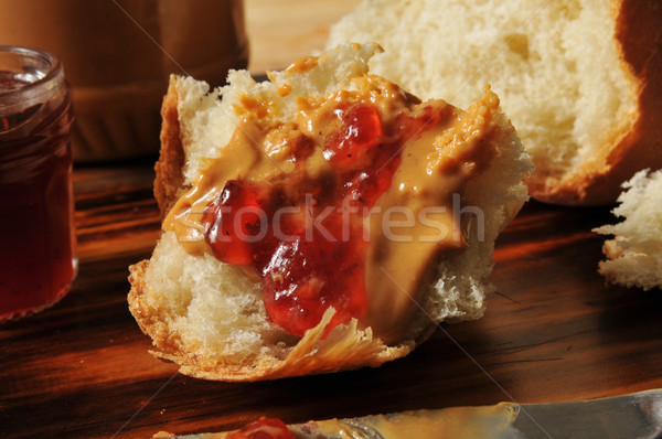 Stock photo: Peanut butter and Jam on homemade bread