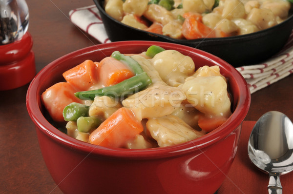 Chicken and dumplings with carrots and green beans Stock photo © MSPhotographic