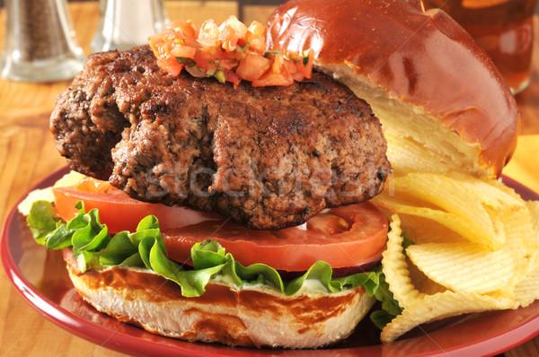 Thick hamburger Stock photo © MSPhotographic