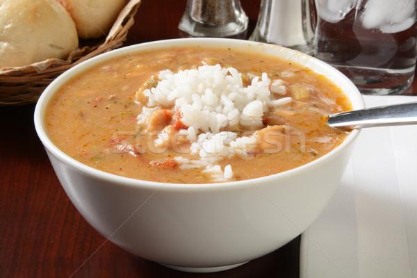 Tavuk sosis çanak füme beyaz pirinç Stok fotoğraf © MSPhotographic