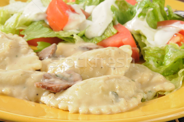 Chicken portabella ravioli with salad Stock photo © MSPhotographic