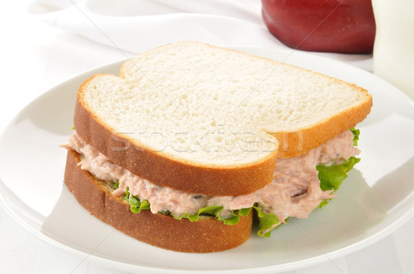 Stock photo: Tuna sandwich with an apple and milk
