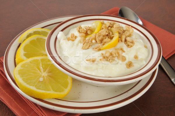 Görög joghurt citromok egészséges citrom szeletek Stock fotó © MSPhotographic