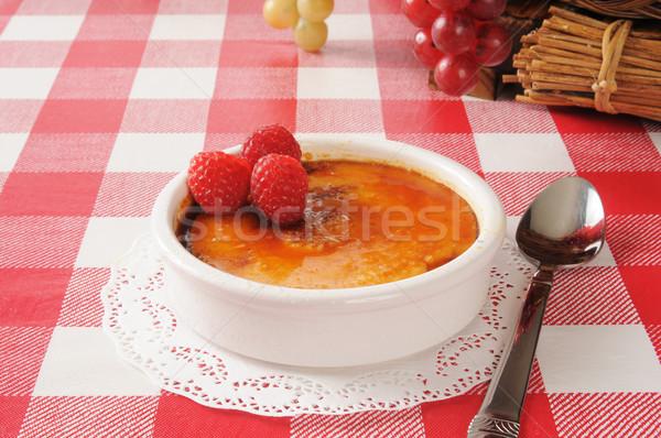 Creme Brulee with raspberries Stock photo © MSPhotographic