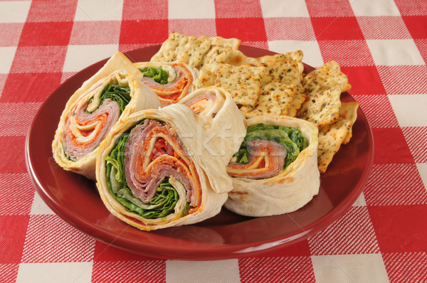 Wrap sandwich wiht Italian meats and cheeses Stock photo © MSPhotographic