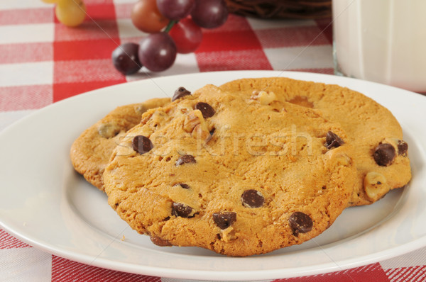 Chocolate chip walnut cookies Stock photo © MSPhotographic