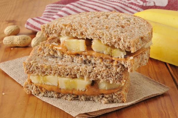 Peanut better and banana sandwich Stock photo © MSPhotographic