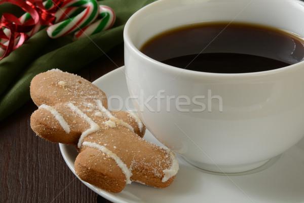 Gingerbread man cookie tasse de café café bonbons alimentaire Photo stock © MSPhotographic