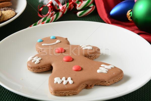 Gingerbread man kurabiye şeker Noel tablo plaka Stok fotoğraf © MSPhotographic