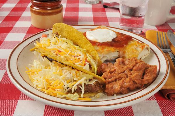 Stok fotoğraf: Meksika · yemekleri · plaka · tacos · gıda · peynir · çatal
