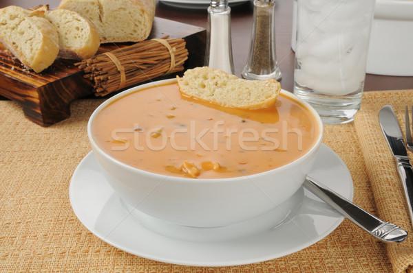 Creamy chicken gouda bisque Stock photo © MSPhotographic