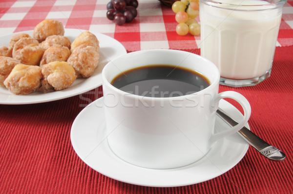 черный кофе пончик Кубок стекла молоко конфеты Сток-фото © MSPhotographic