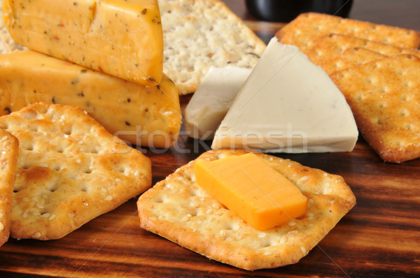 Gourmet cheese and crackers Stock photo © MSPhotographic