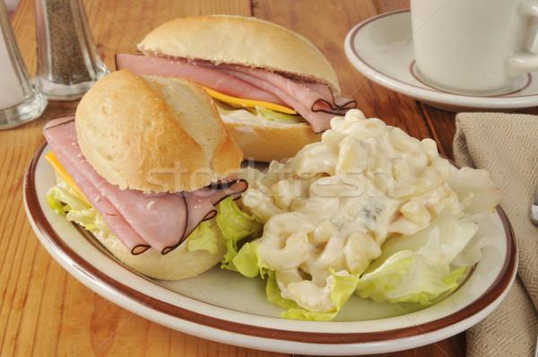 Ham sandwich macaroni salade sandwiches Stockfoto © MSPhotographic