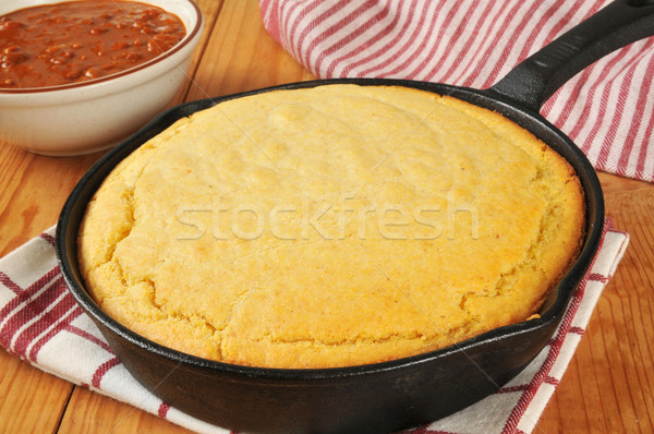 Cornbread and chili Stock photo © MSPhotographic