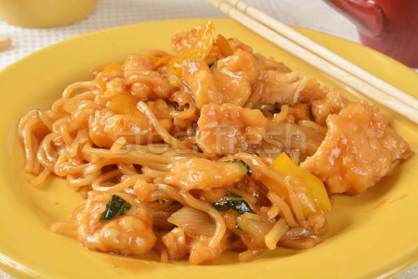 Fokhagyma tyúk közelkép tányér vacsora Stock fotó © MSPhotographic