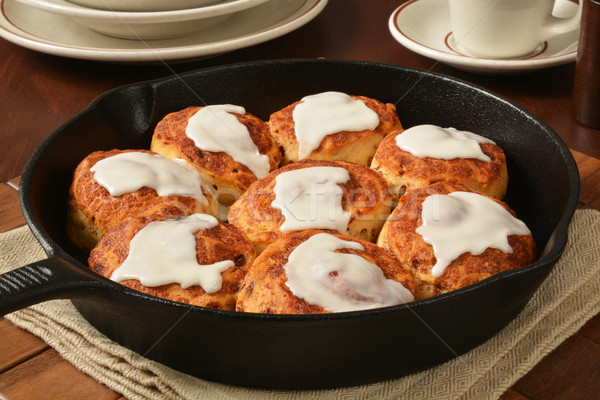 Cinnamon rolls in a cast iron skillet Stock photo © MSPhotographic