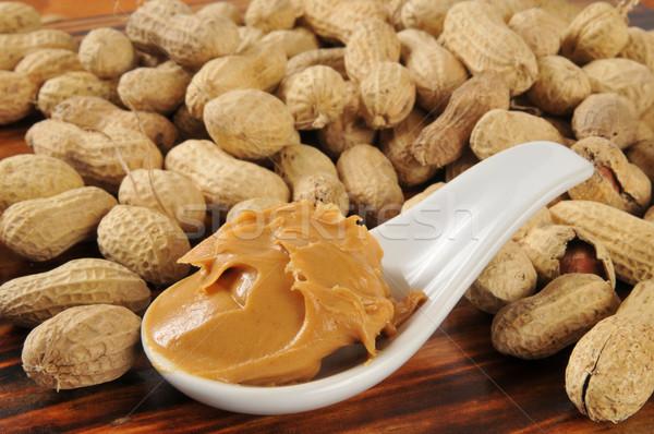 Crémeux beurre d'arachide cacahuètes obus Photo stock © MSPhotographic