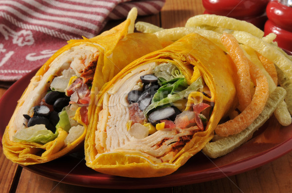 Chipotle chicken wrap sandwich Stock photo © MSPhotographic