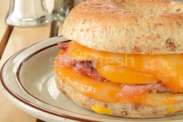 Closeup of a ham, egg and cheese bagel Stock photo © MSPhotographic