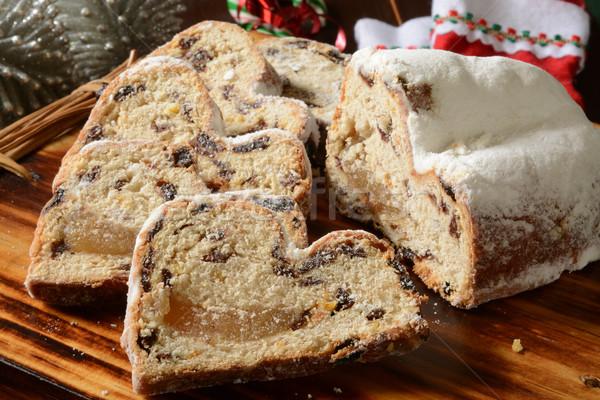 Marcipán szeletel vágódeszka karácsony díszítések gyümölcs Stock fotó © MSPhotographic