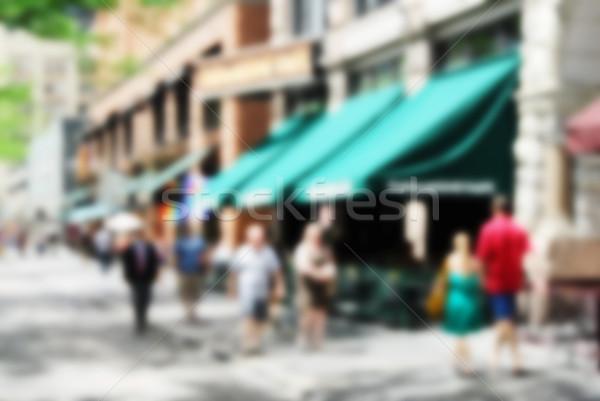 Soyut şehir kaldırım bulanık dükkanlar kadın Stok fotoğraf © MSPhotographic