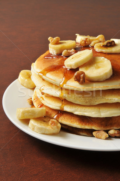 Banana nut pancakes Stock photo © MSPhotographic