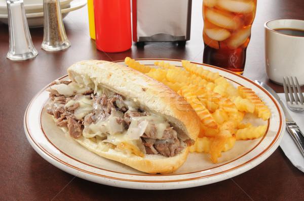 Philadelphia formaggio bistecca sandwich patatine fritte cola Foto d'archivio © MSPhotographic