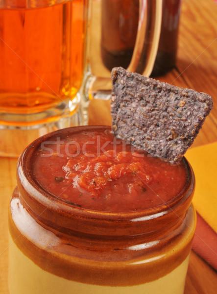 Salsa tortilla chipy niebieski kukurydza chip Zdjęcia stock © MSPhotographic
