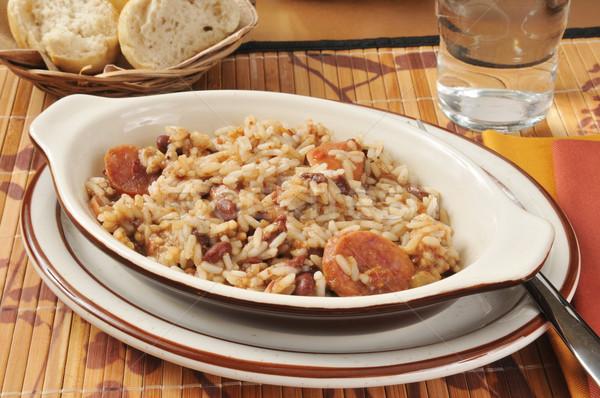 Cajun sosis pirinç akşam yemeği küçük gıda Stok fotoğraf © MSPhotographic