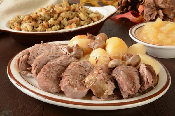 Pörkölt disznóhús vesepecsenye vacsora lédús baba Stock fotó © MSPhotographic