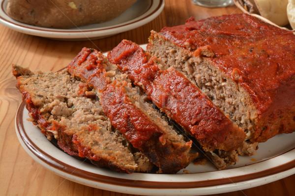 Szeletel paradicsom adag tányér hús forró Stock fotó © MSPhotographic