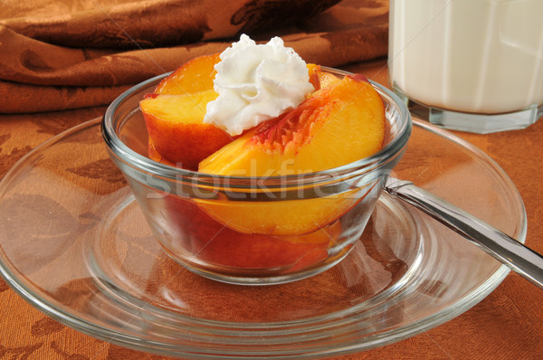 Peaches and whipped cream Stock photo © MSPhotographic