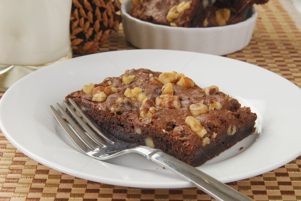 Brownie with nuts Stock photo © MSPhotographic