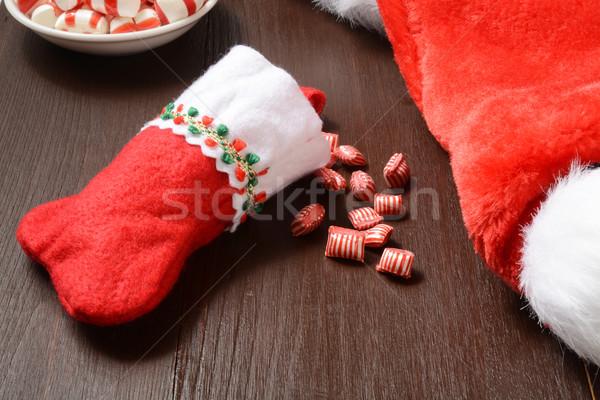 Karácsony harisnya cukorka borsmenta piros Stock fotó © MSPhotographic
