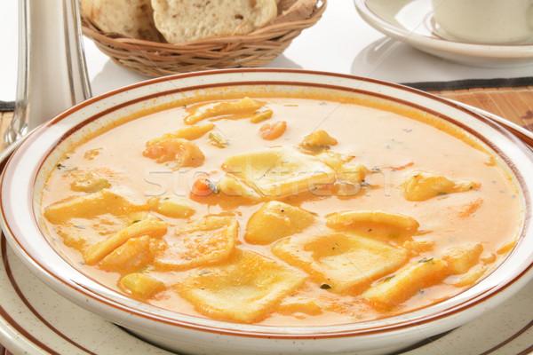 Zeevruchten kreeft ravioli diner pasta lunch Stockfoto © MSPhotographic