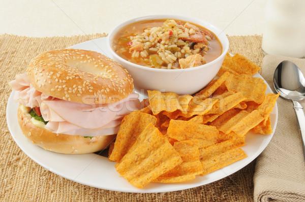 Ham sandwich with chicken gumbo Stock photo © MSPhotographic