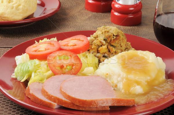 ветчиной обеда картофель соус начинка Сток-фото © MSPhotographic