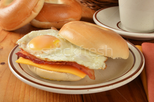 Bacon egg and cheese sandwich on a bagel Stock photo © MSPhotographic
